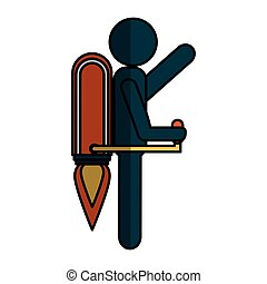 human figure with rocket vector illustration design