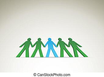 human figures in a row - illustrationv
