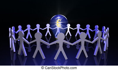 Human figures in circle with a light bulb