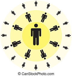 human figures in rounds - illustration