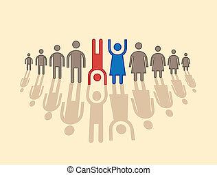 human figures in row - illustration
