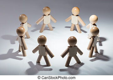 Human Figures Standing On White Background