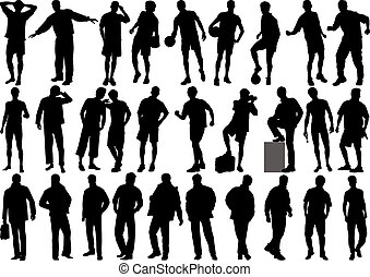 Human figures vector of silhouette of high quality
