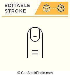 Human finger line icon isolated on white. Editable stroke. Vector illustration
