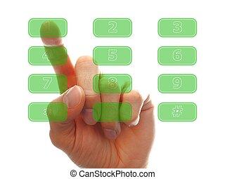 human finger pressing a key