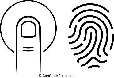 Human finger print vector icons set