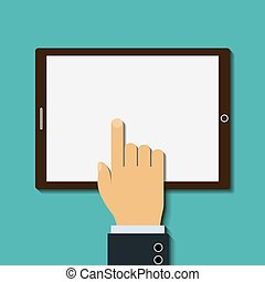 Human finger touches the screen. Flat graphic image. Stock Vector.