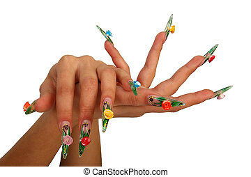 Human fingers with long fingernail and beautiful manicure...