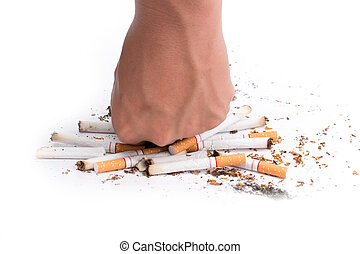 Human fist breaking cigarettes isolated on white background...
