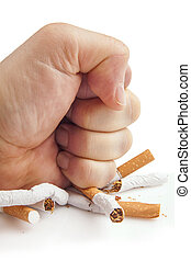 Human fist breaking cigarettes on white background - Human ...