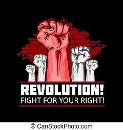 Human Fists Up Revolution - Vector Illustration. Fist of revolution. Black background.