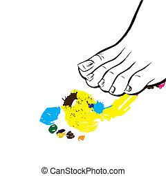 Human foot and its print.Vector - Human foot and its print...