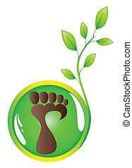 The vector stylised trace of a human foot with a green young sprout