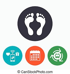 Human footprint sign icon. Barefoot symbol. Foot silhouette....