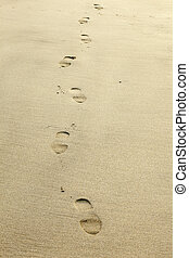 human footprints in the sand at the beach