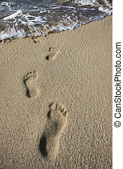 Human footprints in the sand