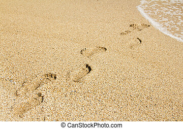 footprints leading away from the viewer into the sea
