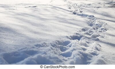 human footprints nature in the snow winter landscape path a...