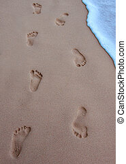 human footprints on the beach sand