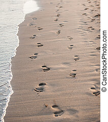 human footprints on the beach sand.