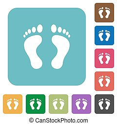 Human Footprints rounded square flat icons