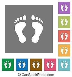 Human Footprints square flat icons