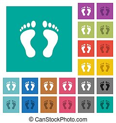 Human Footprints square flat multi colored icons