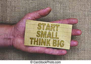 human, foto, mente, saco, papel, algo, ter, grossas, início, coisas, escrita, poucos, conceitual, negócio, mostrando, mão, showcasing, experiência., palavras, mãos, juta, cinzento, grande, inicie, big., pequeno, pensar