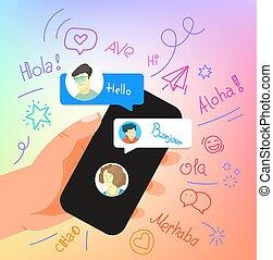 Human gesture using modern smartphone. Say hallo in ...