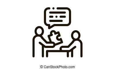 Human Giving Puzzle Piece Icon Animation. black Businessman Explains What Lacking In Work Of Employee animated icon on white background