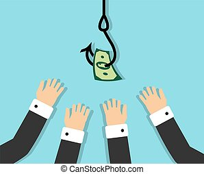 business people eagerly pulling his hands to the hook on which hung the money