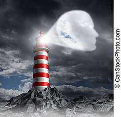 Human Guidance Direction business concept with a lighthouse beacon tower shinning a guiding light shaped as a key head on a stormy dark background sky as a symbol of vision and focusing on a planned strategy.
