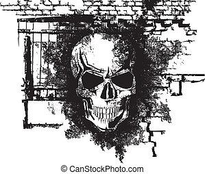 Human Halloween Skull - Vector scary Halloween grunge skull...