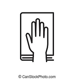 Give oath line icon. Palm on holy bible. Judiciary concept. Vector illustration, isolated on a white background.