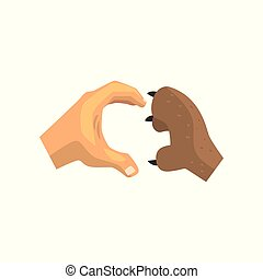 Human hand and dog paw making heart gesture, friends...