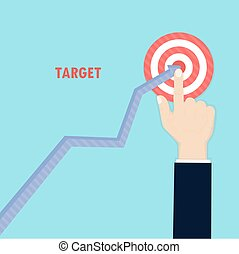 Human hand and growth graph icon on background. Goal achievement. Successful way up to goal. Ambition business. Path chart to target. Businessman to top graph. Aspiration to victory. Concept of the teamwork for successful business.