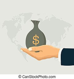 Human hand and money bag