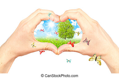 Symbol of the environment. - Human hand and nature. Symbol...