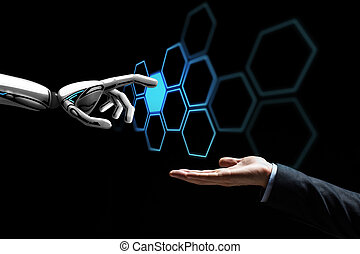 human hand and robot touching network hologram