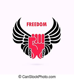 Human hand and wings.Red fist and wing icon.Force icon.Power and freedom concept.Vector illustration