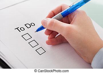 Human Hand Checking To Do List