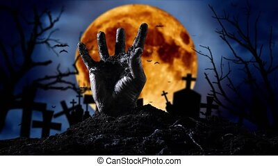 Human hand climbs out of the ground and a yellow moon and...