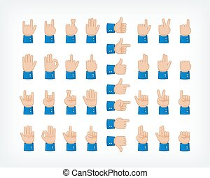 Human hand collection, different hands, gestures, signals and signs. Vector icons set.