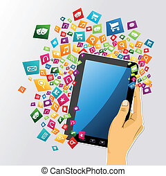 Human hand holds electronic tablet computer applications icons set burst illustration. Vector file layered for easy personalization.