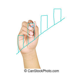 Human Hand Drawing a  Business graph