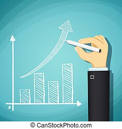 Human hand drawn growth chart. Success in business. Stock Vector