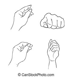 Human Hand Gestures on White Background