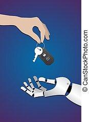 human hand gives car keys to robot hands on dark blue background.