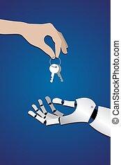human hand gives the keys to the metallic arm
