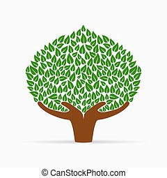 Human hand green tree concept for social help